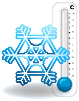 Thermometer and snowflake on white background