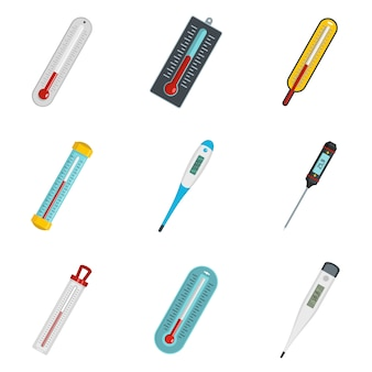 Thermometer temperature icons set vector isolated