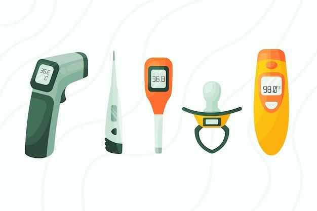 フラットデザインの温度計タイプ