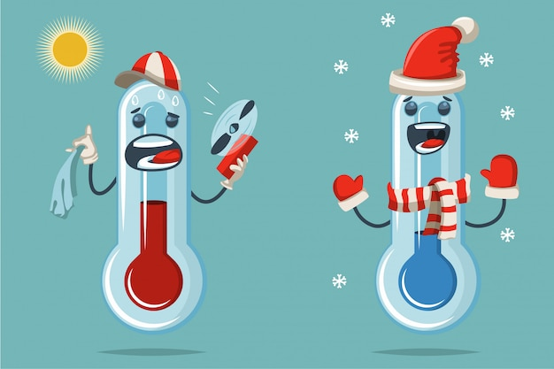 Thermometer with a cute face cartoon flat character.