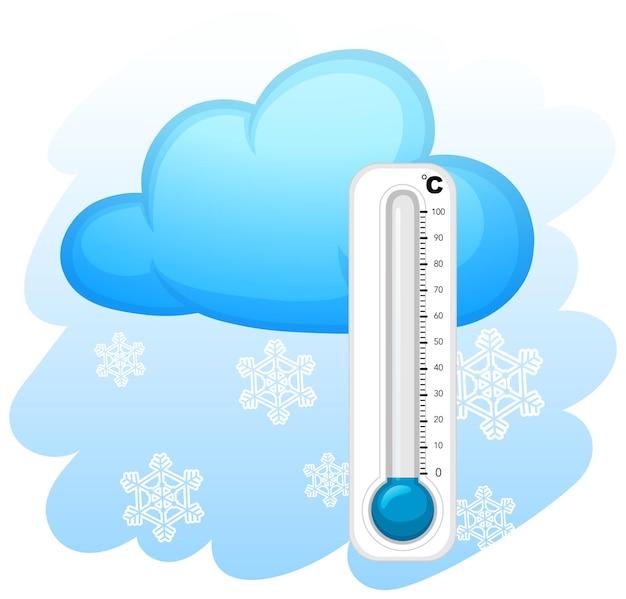 雪片の背景を持つ温度計