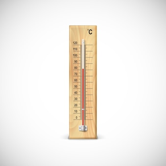 Thermometer on wooden base with celsius scale.