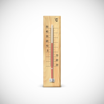 Thermometer on wooden base with celsius scale