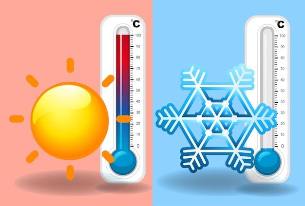 여름과 겨울 시간의 온도계