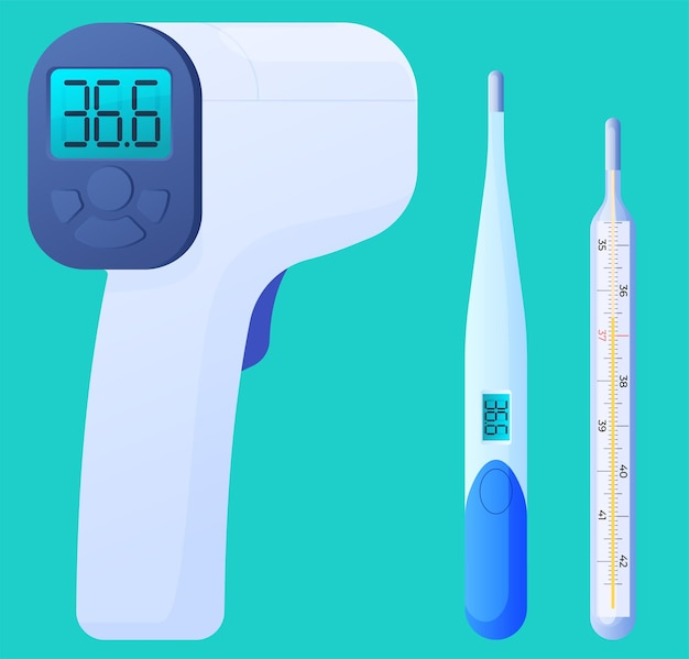 Thermometers for measuring body temperature, electronic thermometers.