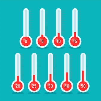 Thermometers with different temperatures in cartoon trendy style