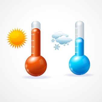 Thermometr 아이콘 세트 더운 햇살과 추운 눈 덮인 날씨