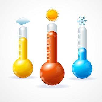Thermometr 아이콘 세트 더운 추위와 맑은 날씨의 개념
