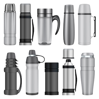 Thermos mockup set. realistic illustration of 10 thermos mockups for web