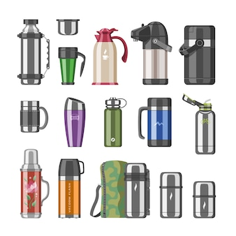 Thermos  vacuum flask or stainless bottle with hot drink coffee or tea illustration set of metal bottled container or aluminum mug  on white background