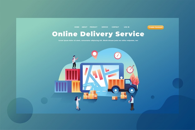 These people work as online delivery services  delivery and cargo web page header landing page template illustration