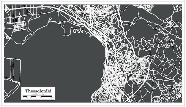 레트로 스타일의 테살로니키 그리스 도시 지도입니다. 개요 지도. 벡터 일러스트 레이 션.