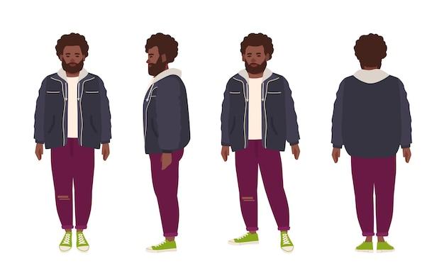 ジーンズとジャケットに身を包んだ厚いひげを生やしたアフリカ系アメリカ人の男。アフロの髪型と白い背景で隔離のひげを持つ男性の漫画のキャラクター。
