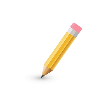 . thick pencil with eraser isolated.  illustration.