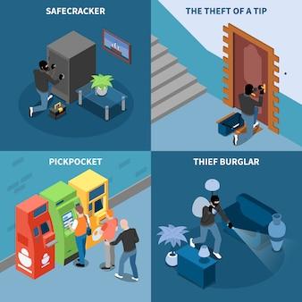 泥棒泥棒ピックポケットとチップ等尺性デザインコンセプト分離ベクトル図の安全なクラッカー盗難