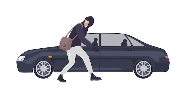 Thief, burglar or rubber dressed in hoodie sneaking to break automobile's window. criminal committing crime. motor vehicle theft scene, unlawful act. flat cartoon colorful vector illustration.