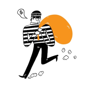 The thief carrying the big bag, hand draw vector illustration doodle style