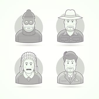 泥棒、農家、裁判官、実業家のアイコン。キャラクター、アバター、人物のイラスト。黒と白のアウトラインスタイル。