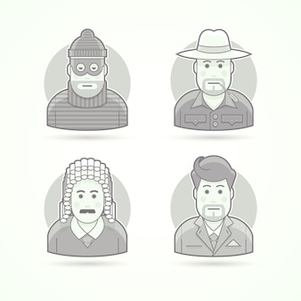 Thief, farmer, judge, businessman icons. character, avatar and person illustrations.  black and white outlined style.