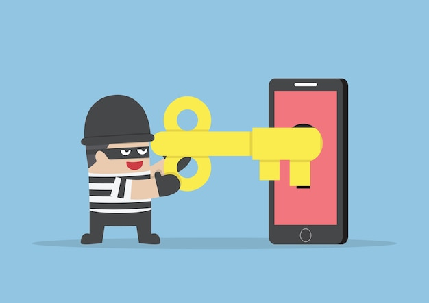 Thief or hacker hacking smartphone by key