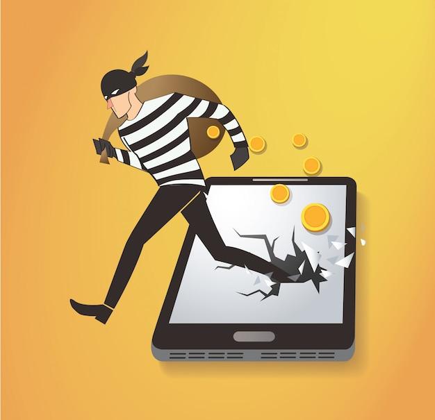 Вор хакер крадет деньги на смартфоне