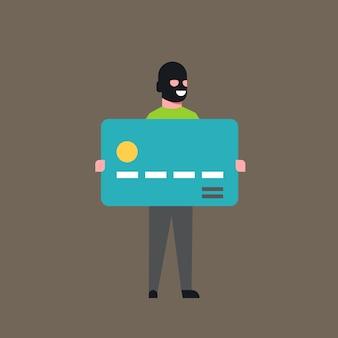 Thief hold bank credit card man in mask stolen money cash