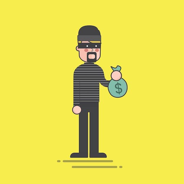 お金のバッグのイラストを持っている泥棒