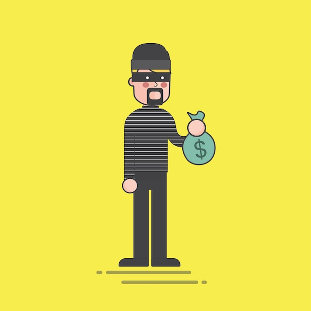 Thief holding a money bag illustration