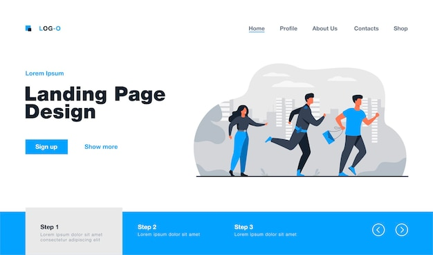 Thief holding stolen bag and running from male cop landing page template