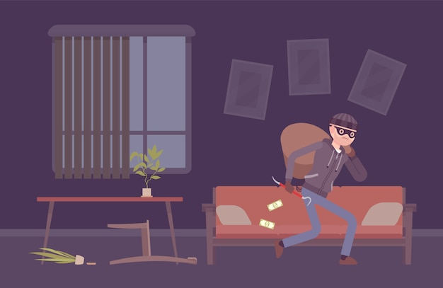 Thief housebreaker in a room