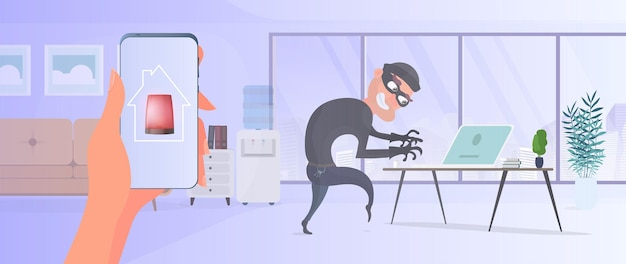 家の中の泥棒。強盗はラップトップからデータを盗みます。安全とセキュリティの前提の概念。