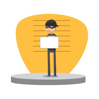 A thief is holding white board. isolated vector illustration