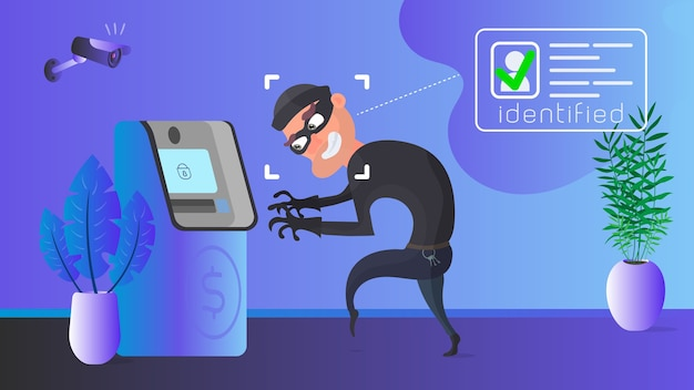 A thief is robbing an atm. masked robber identification. security concept.