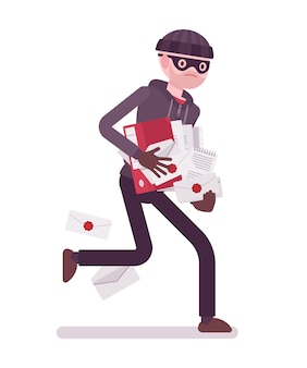 Thief is running away with stolen documents