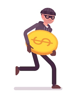 Thief is running away with stolen golden coin