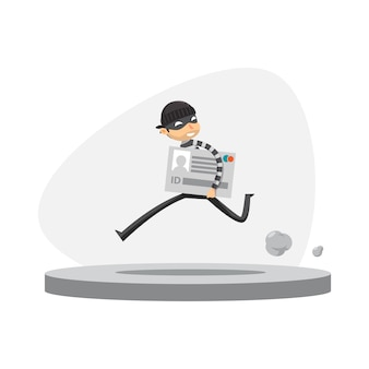A thief is running with holding id card. isolated vector illustration