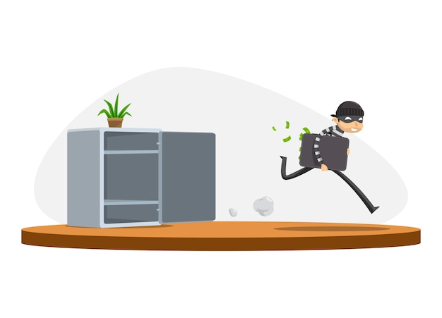 A thief is stealing from the safe box. isolated vector illustration