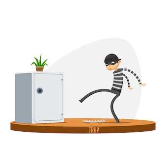 A thief is trying to avoid trap. isolated vector illustration
