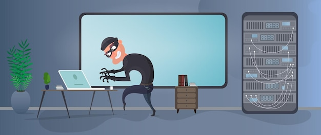 A thief is trying to get a server. a masked burglar steals data. the criminal got into the office. the concept of security and data protection. isolated. vector.