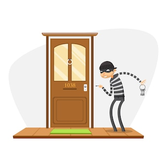 A thief is trying to open the door. isolated vector illustration