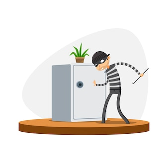 A thief is trying to open the safe box. isolated vector illustration