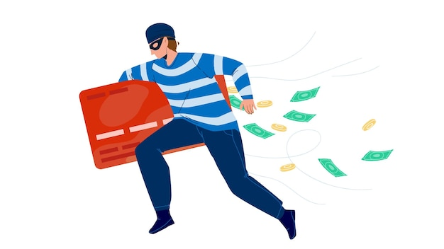 Thief man stealing money from credit card vector. thief running with steal finance, bandit burglar boy theft. character gangster financial criminal, illegal occupation flat cartoon illustration