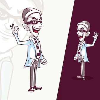 手を上げて立っている泥棒マスコットキャラクター