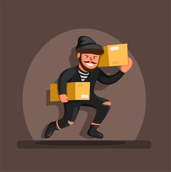 Thief running carrying box package in spotlight, online shop package theft prevention symbol character concept in cartoon