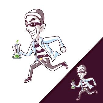 漫画のキャラクターのイラストを実行している泥棒