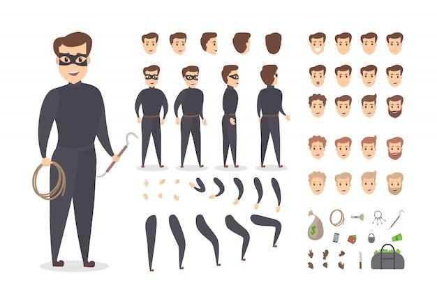さまざまなビュー、ヘアスタイル、顔の感情、ポーズ、ジェスチャーを備えたアニメーション用の泥棒の笑顔の男性キャラクターセット。