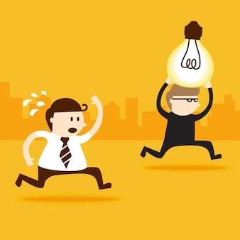 A thief steal light bulb idea from business man