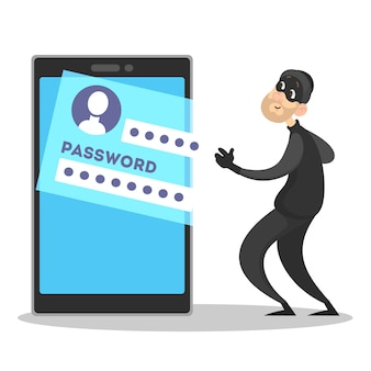 Thief steal personal data with password