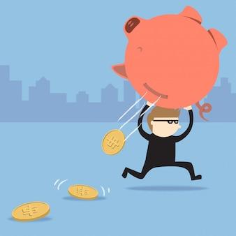泥棒は貯金箱を盗むが、硬貨は落ちる