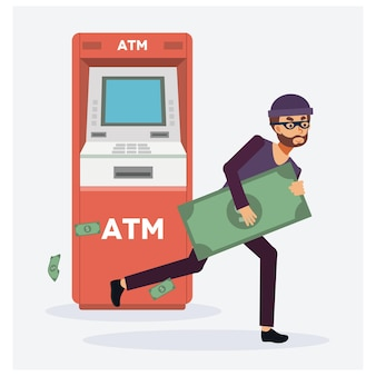 Thief steals money from atm, red cash machines, robber in mask. criminal person.